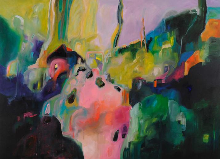 Hilltop Hideaway 2mx2.7m acrylic on canvas