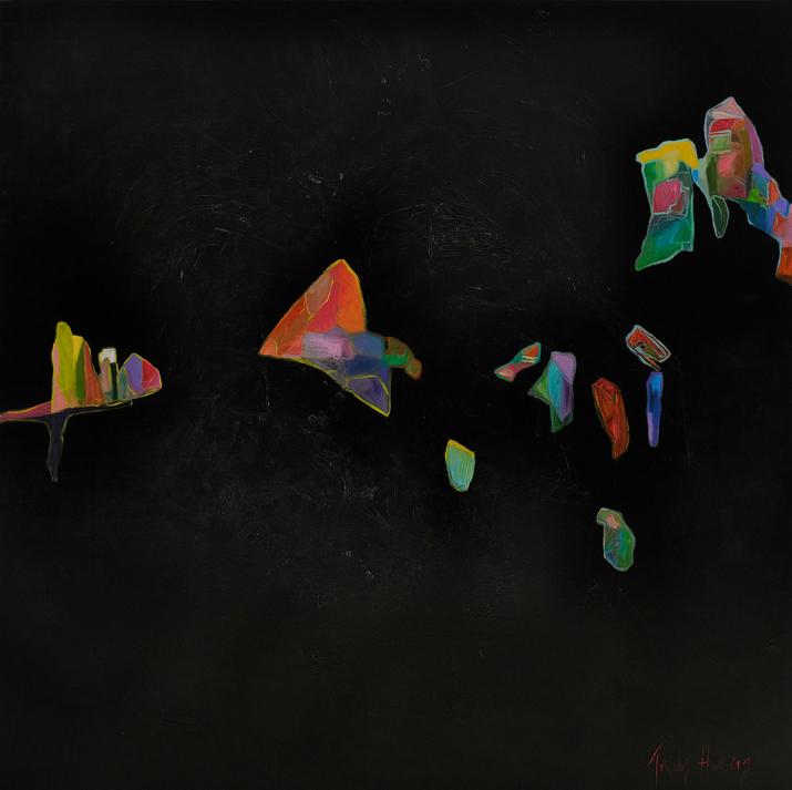 Stepping Stones 152x152cm acrylic on canvas