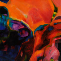 Cave Dwellers 100x100cm acrylic on canvas