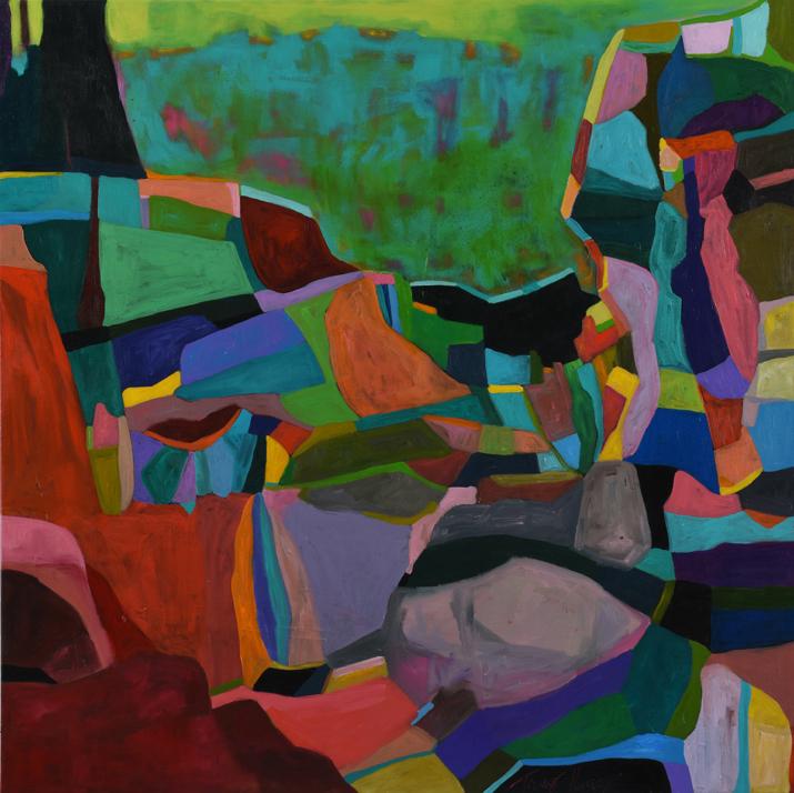 Cliff Top Kaleidoscope 2017 acrylic on canvas, 100 x 100cm