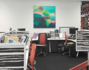 When you lease my art your space is infused with colour. Pictured here is my painting in the Nexia office in Perth.