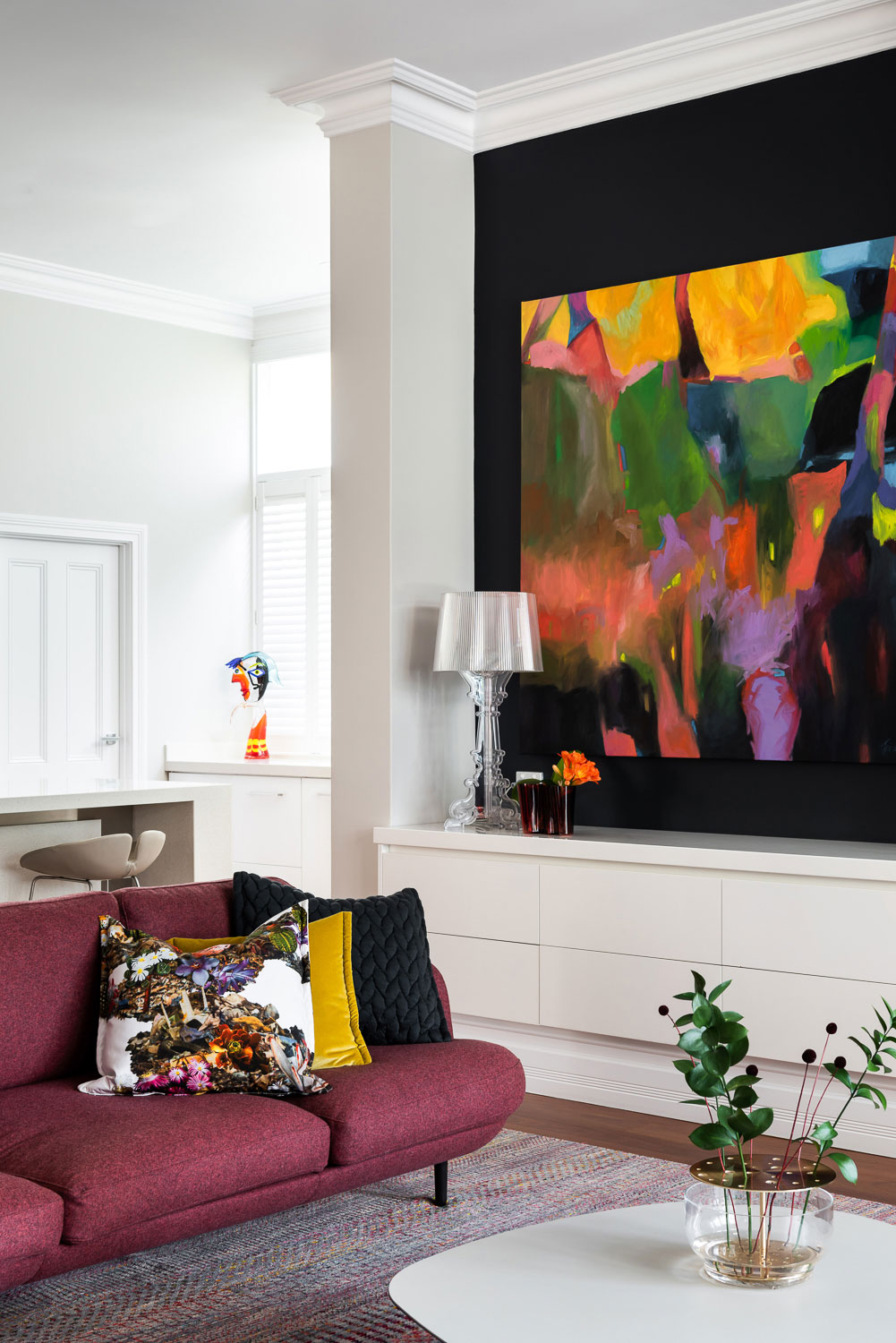 Tracey's painting in a modern room