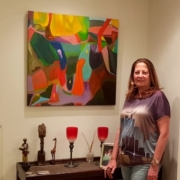 Client with painting commission in Istanbul home.