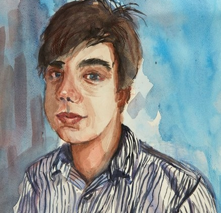 Self-portrait in water colour by Lucca Harvey, aged 15